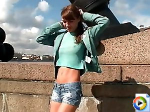 3 movies - Nasty gadget takes off her tiny shorts and plays with her briefs