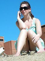 Upskirt pictures - Public upskirt flashing girls - brunette in blue