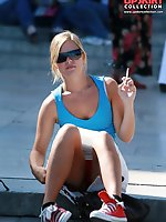 12 pictures - Smoking blonde in mini spyed, up skirt sitting