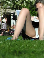 Upskirt pictures - She spreaded her legs so everything is seen. Up skirt