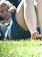 Upskirt pictures - Two beauties on a glade. Candid up skirt pictures