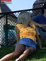 Upskirt pictures - Accidental upskirt. Hot blonde in denim mini