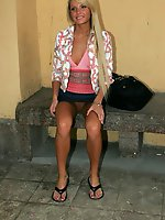Upskirt pictures - Nice doll dares go out pantieless and gets immediately shot