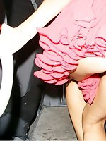 Upskirt pictures - Skinny babe in car up skirt pics