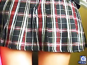 4 movies - Bare delicious buttocks looking out from short skirts and teeny panties