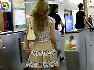 4 movies - Fascinating hot babe with marvelous sweet buttocks caught in subway