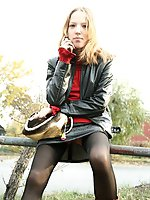 Upskirt pictures - Public upskirt outdoors with pantyless girl in stockings