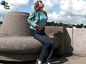3 movies - Dishy gadget teases with her peachy ass and tight jeans outdoors