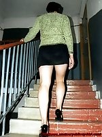 Upskirt pictures - Another neighbor of mine walking up the stairs in a short skirt - great close-up images