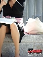 12 pictures - Brunette upskirt, voyeured while she ate